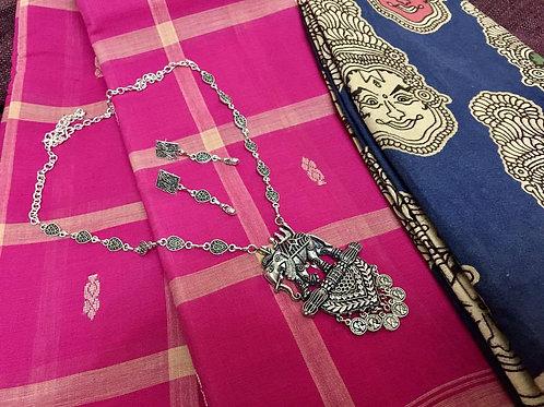 Fuschia Pink Cotton Checks Saree with kalamkari blouse