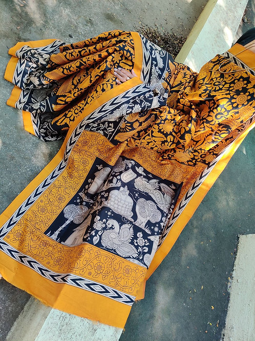 Kalamkari on Tussar silk