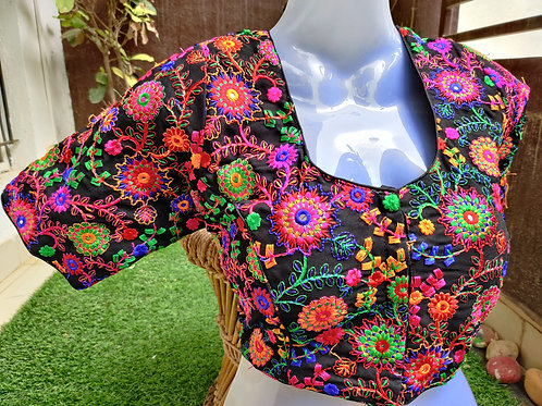Black colourful floral embroidery readymade blouse