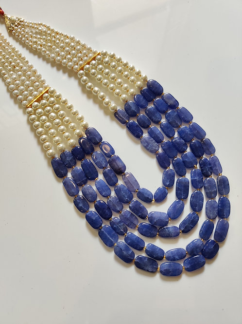 Multi line Pearls with blue semiprecious stones