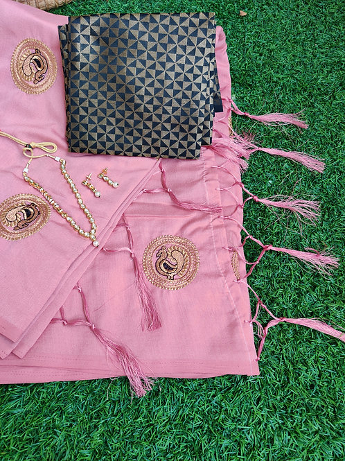Pink peacock embroidery saree