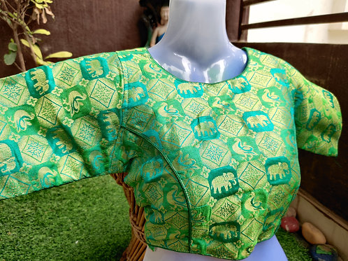 Green and golden embroidered readymade blouse