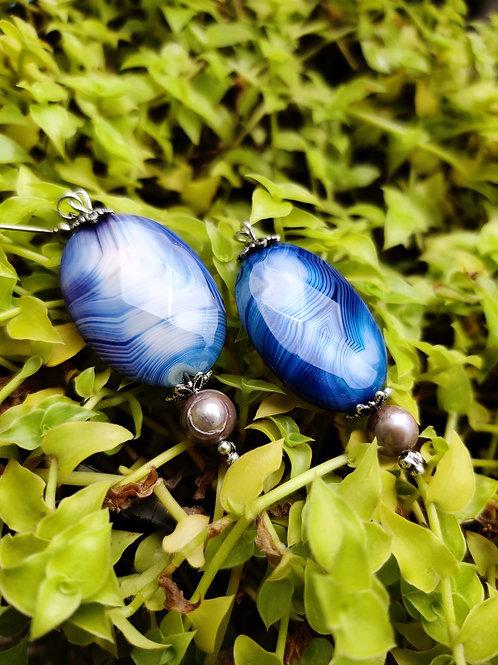 Agate semiprecious earring
