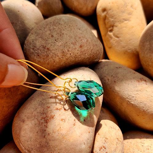 Crystals in Golden Hoops