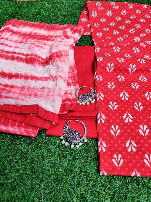 Batik salwar material with hoop stone earrings