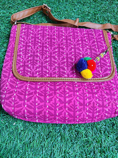 Pink block printed Sling bag