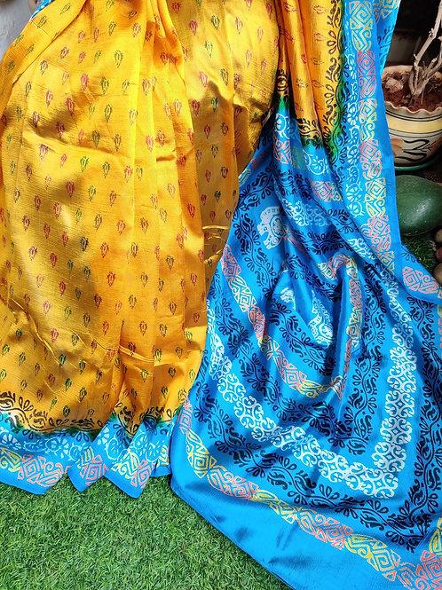 Yellow-blue printed silk