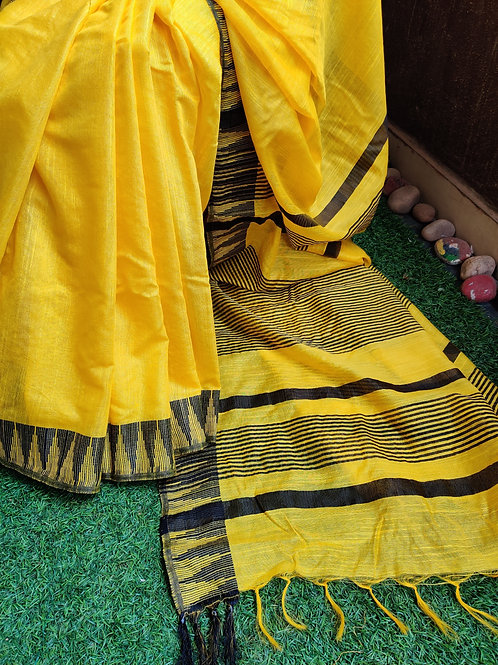 Handloom silk with temple border