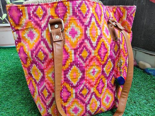 Pink and orange Block print handbag