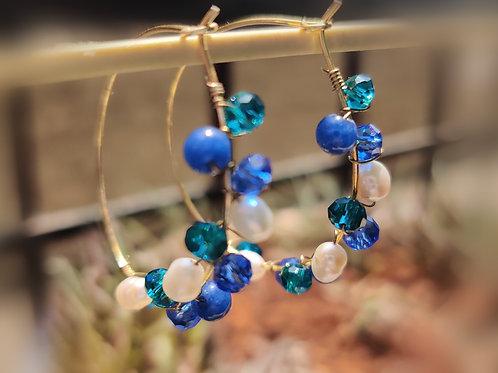 Aqua blue crystal hoops