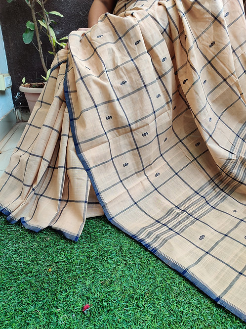 Checked cotton sarees with Kalamkari blouse