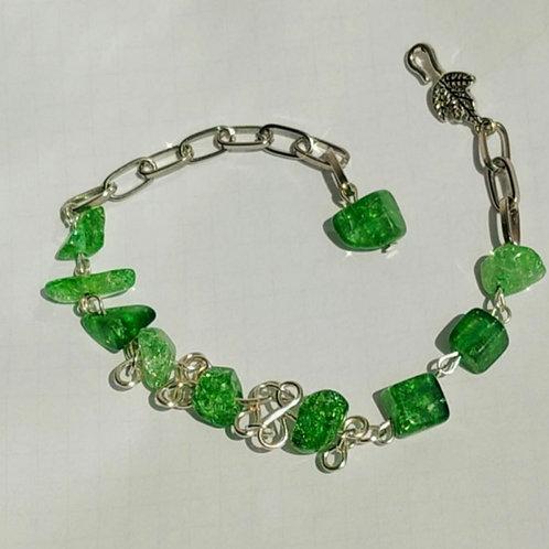 Green sparkle Agates bracelet