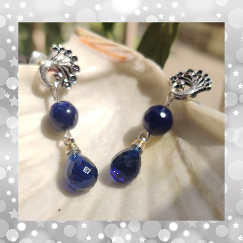 Peacock earrings with Blue crystals