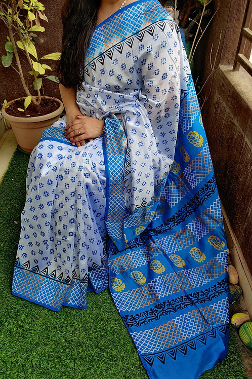 Semi Murshidabad silk saree with block print
