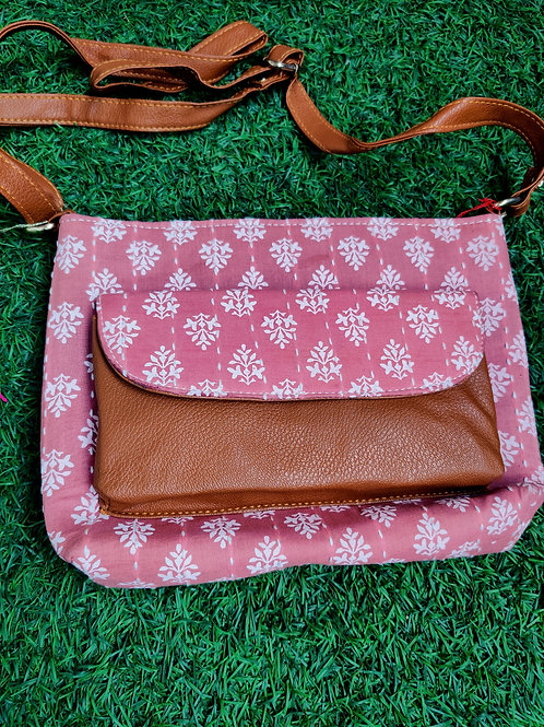 Pink block printed Sling bag with mobile pouch