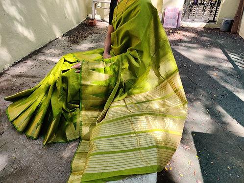 Parrot Green Tussar silk