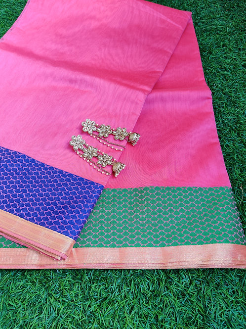 Pink ganga jamuna border saree and stone jhumkas
