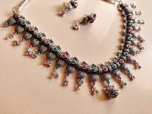 Green&Red Silver Oxidized set
