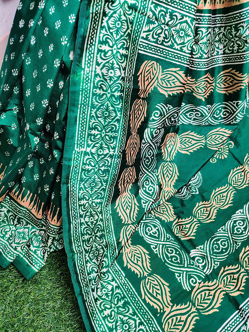 Green printed silk