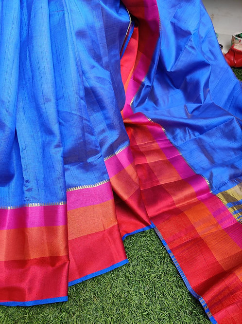 Blue Tussar silk with simple border