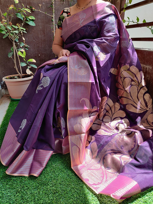 Violet Silk cotton with Digital Zari pallu