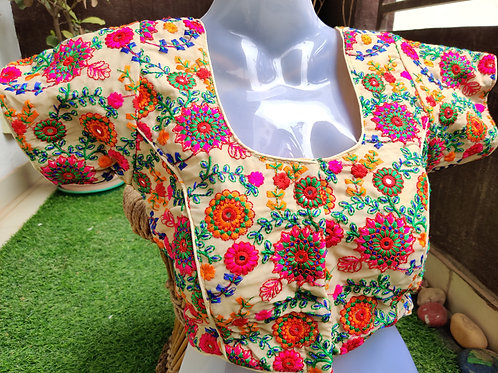 copy of Off white and cream floral embroidery readymade blouse