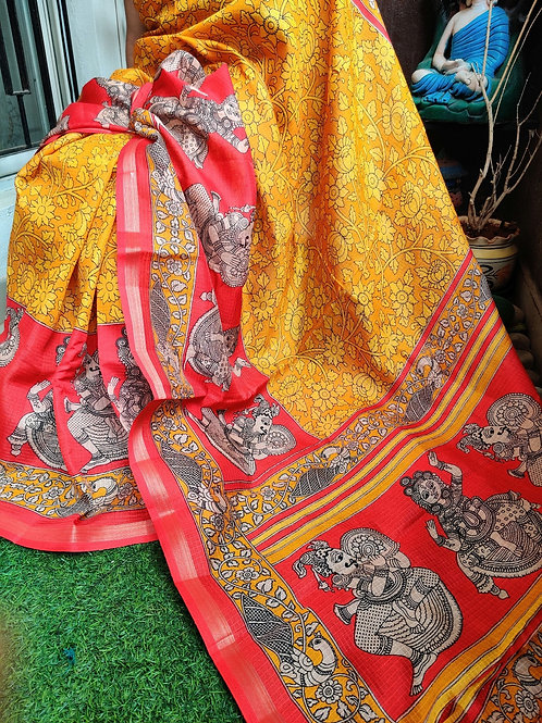 Kalamkari in tussar silk