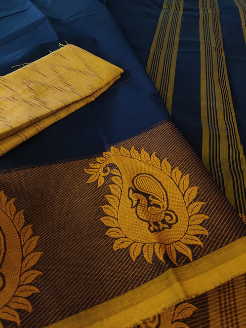 Chettinad cotton with Ikkat blouse