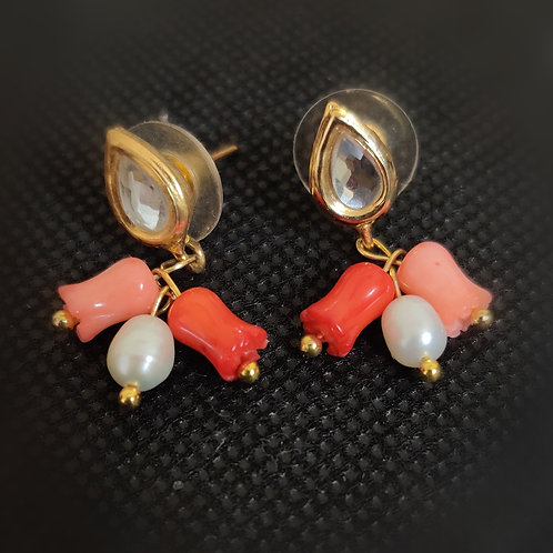 Kundan with corals earring