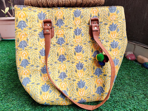 Yellow Block print handbag- Big