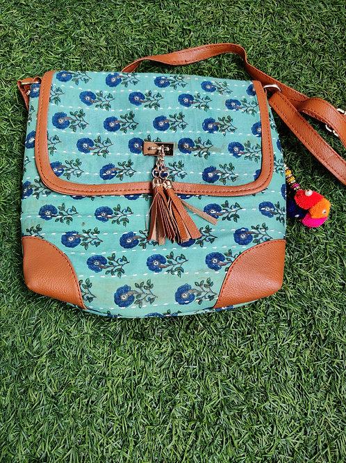 Blue block printed Sling bag