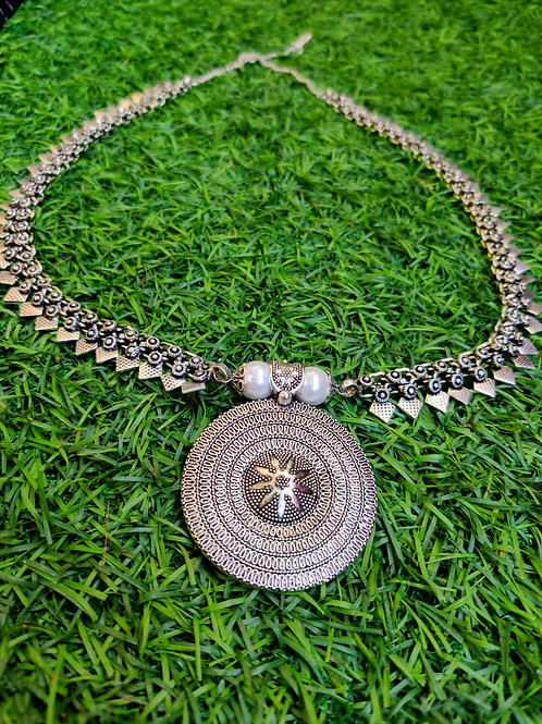 Silver Spokes Aaram- Big Pendant & Pearls