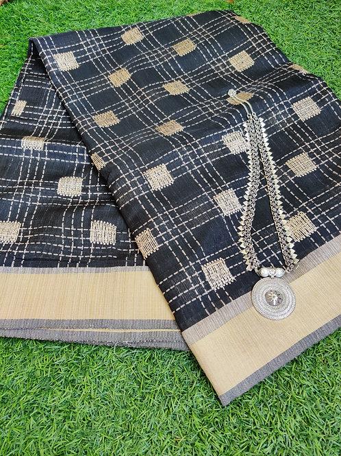 Black jute silk with silver aaram