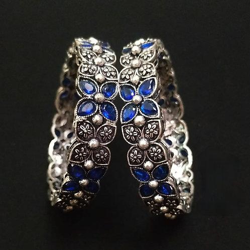 Oxidised bangles with blue stones