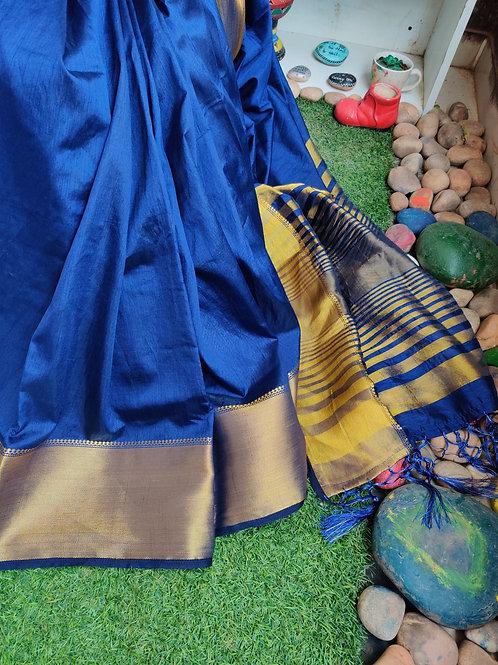 Navy blue Tussar silk