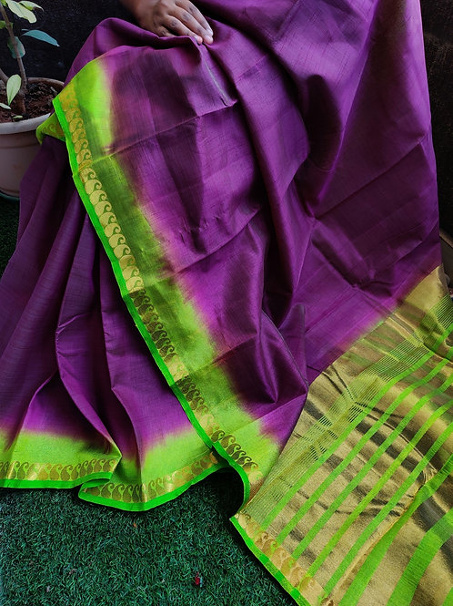Tussar silk with mango zari border