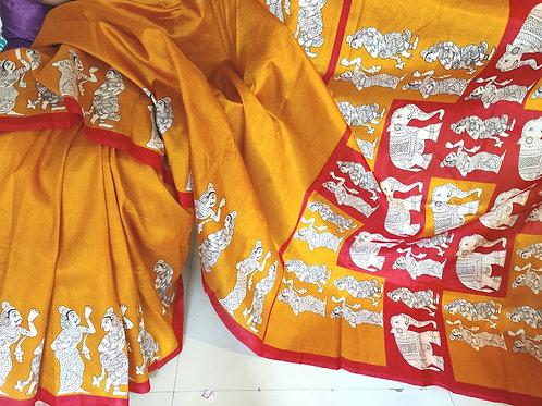Kalamkari in tussar silk