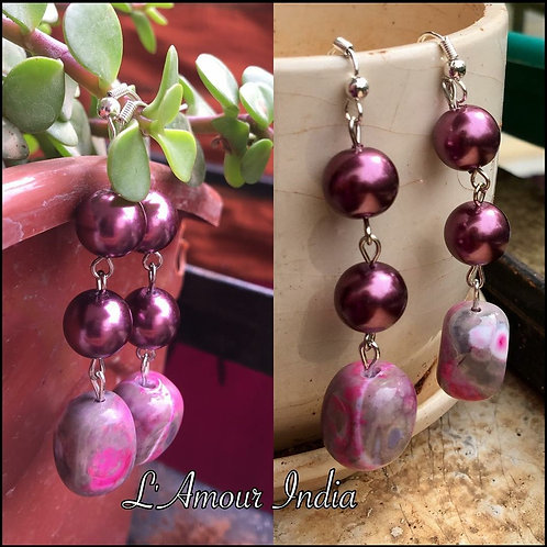 Pink Agate and Mauve pearl earrings