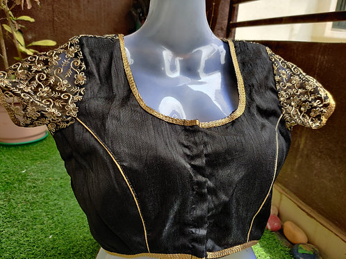 Black and gold embroidered readymade blouse