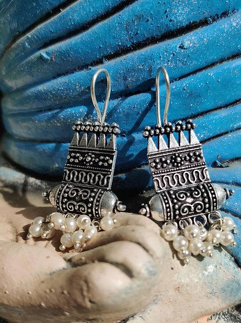 German silver earrings with pearls