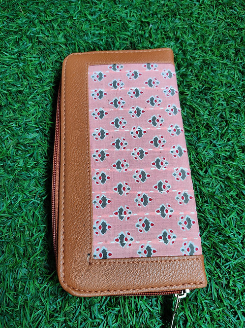 Pink block printed wallet-zip closure