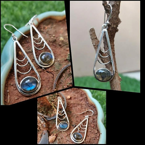 925 Silver Earrings with Blue stones