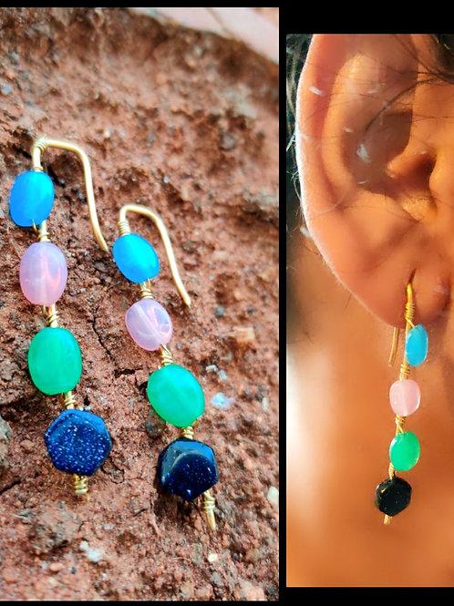 Multi stoneline earrings