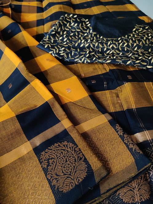 Black Chettinad cotton saree