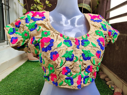 Golden embroidered ready made blouse