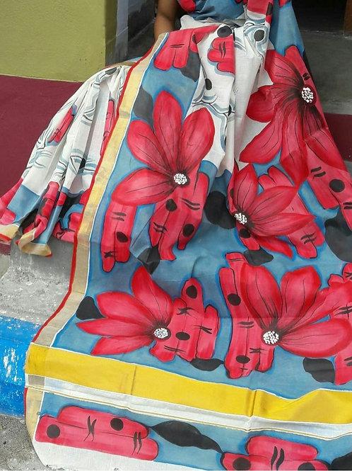 Handpainted Kerala Cotton Saree