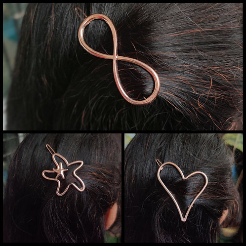 Hair sliders- infinity, star, heart