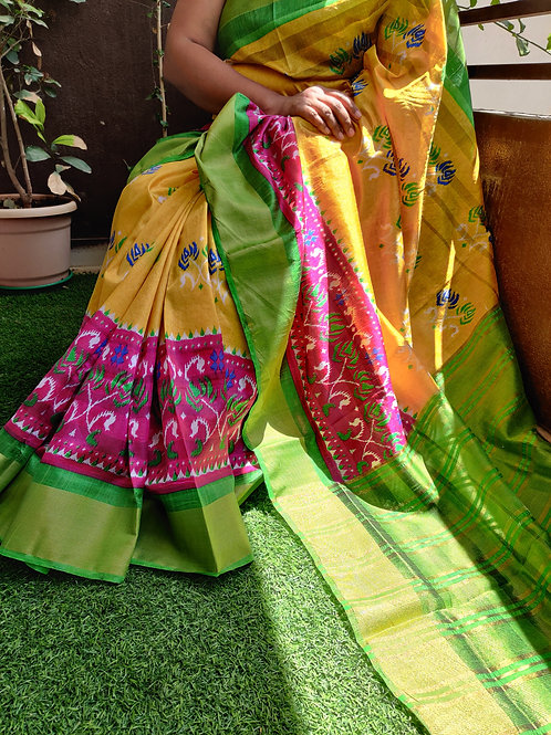 Soft Tussar Silk with Ikkat prints