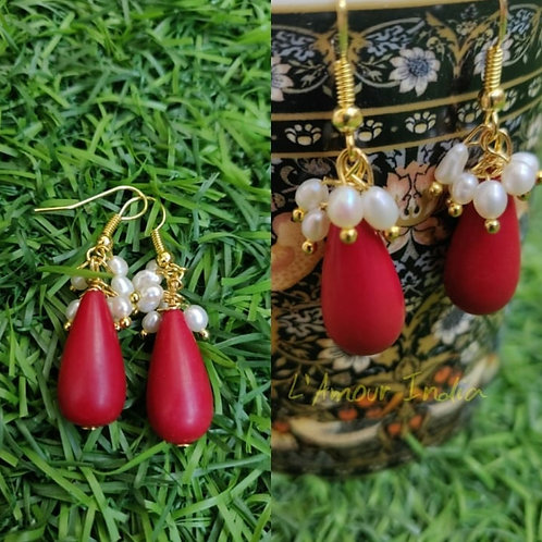 Coral drops with pearls