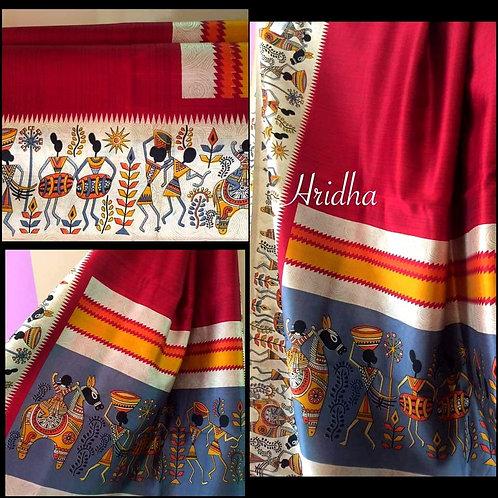 Soft Malbari silk with Warli print